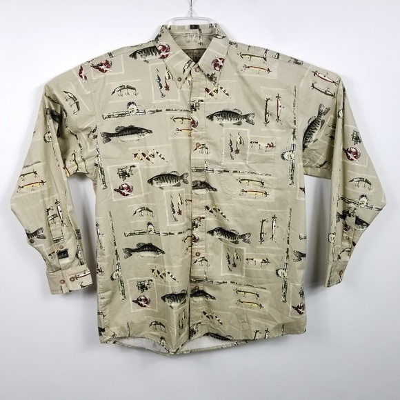 Woods & Water Outfitters Other - Woods & Water Mens Fish Bait Pattern Button Down